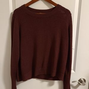 Divided (H&M) maroon knit crew neck sweater